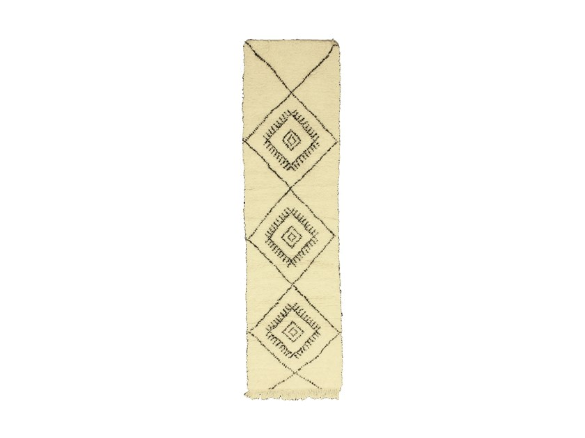Long pile rectangular wool rug with geometric shapes BENI OURAIN TAA1055BE by AFOLKI