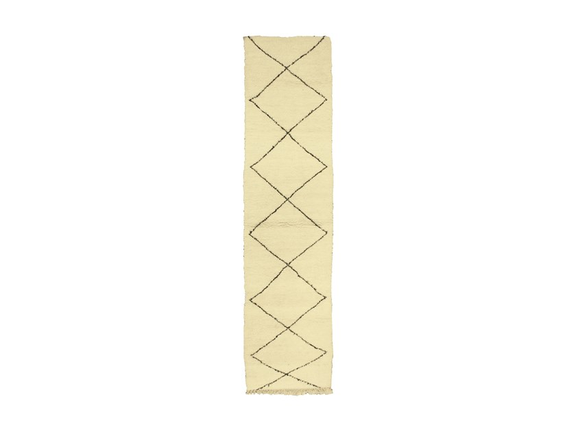 Long pile rectangular wool rug with geometric shapes BENI OURAIN TAA1058BE by AFOLKI