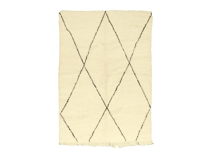 Long pile rectangular wool rug with geometric shapes BENI OURAIN TAA1059BE by AFOLKI