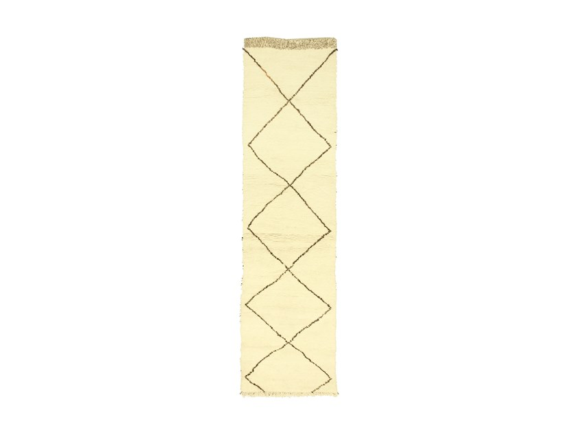 Long pile rectangular wool rug with geometric shapes BENI OURAIN TAA1062BE by AFOLKI