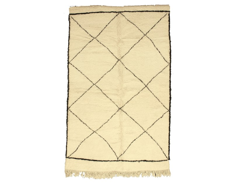 Long pile rectangular wool rug with geometric shapes BENI OURAIN TAA1068BE by AFOLKI