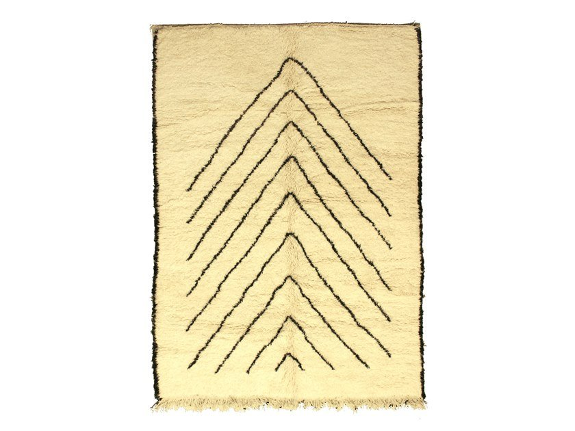 Patterned long pile rectangular wool rug BENI OURAIN TAA1069BE by AFOLKI