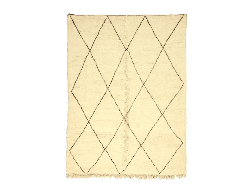 Long pile rectangular wool rug with geometric shapes BENI OURAIN TAA1070BE by AFOLKI