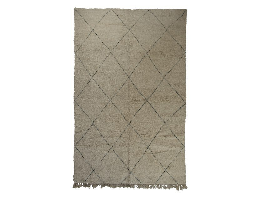 Long pile rectangular wool rug with geometric shapes BENI OURAIN TAA1097BE by AFOLKI