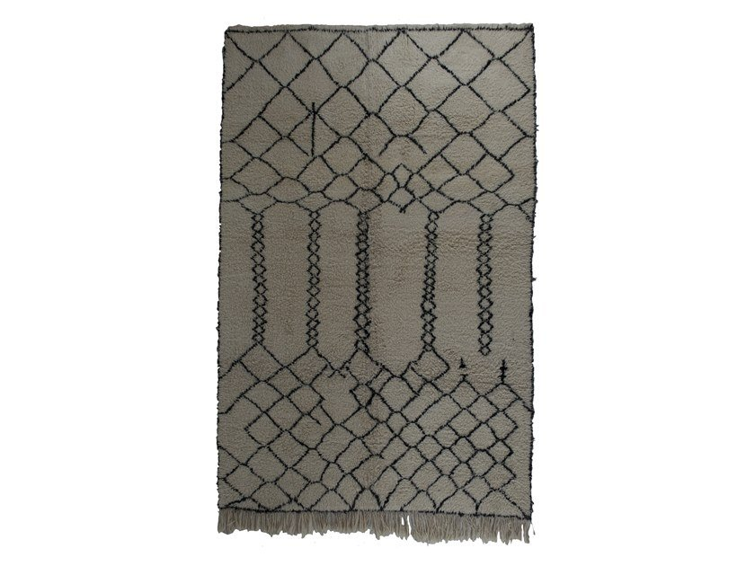 Long pile rectangular wool rug with geometric shapes BENI OURAIN TAA1101BE by AFOLKI