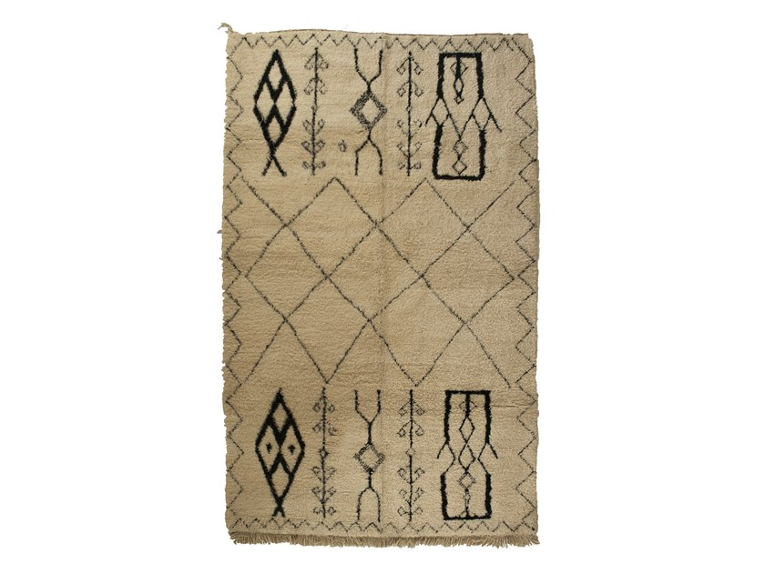 Long pile rectangular wool rug with geometric shapes BENI OURAIN TAA1103BE by AFOLKI