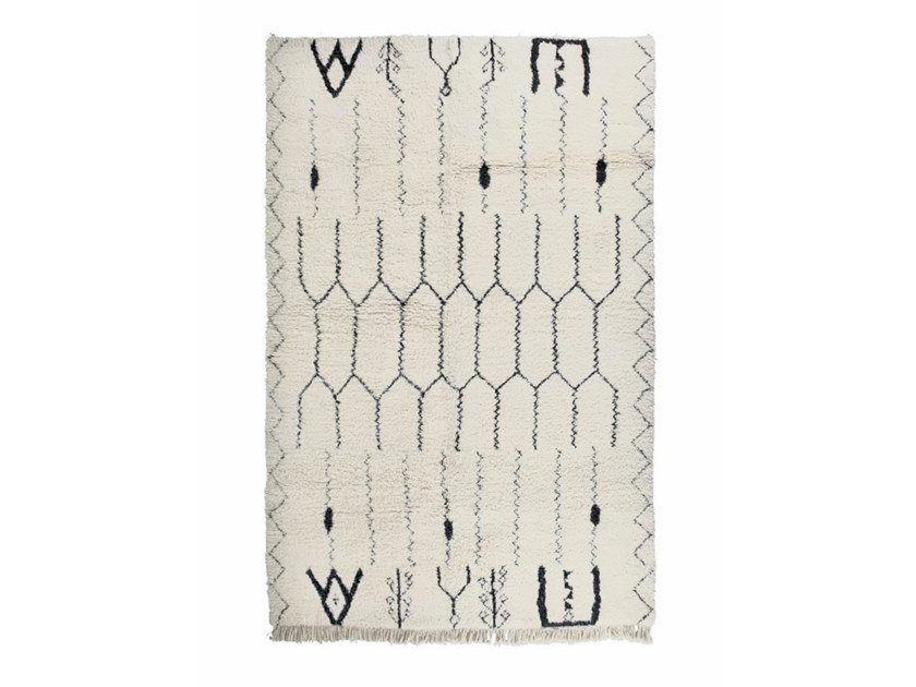 Rectangular wool rug with geometric shapes BENI OURAIN TAA1105BE by AFOLKI