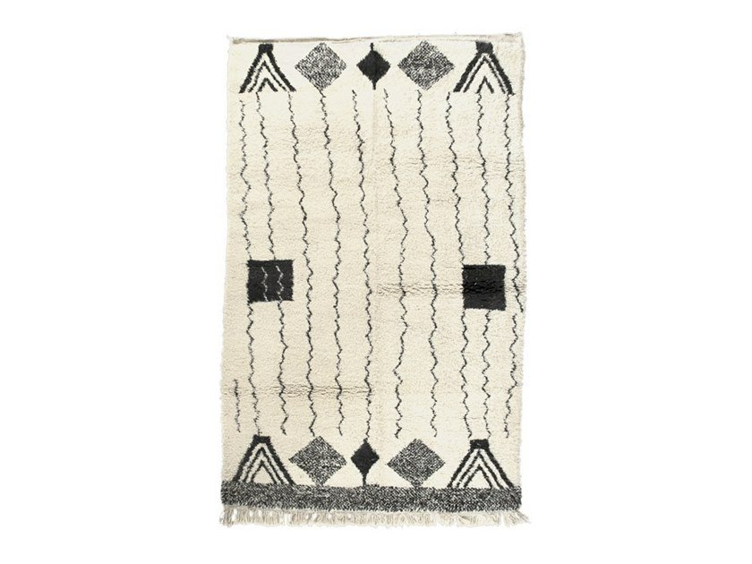 Rectangular wool rug with geometric shapes BENI OURAIN TAA1111BE by AFOLKI