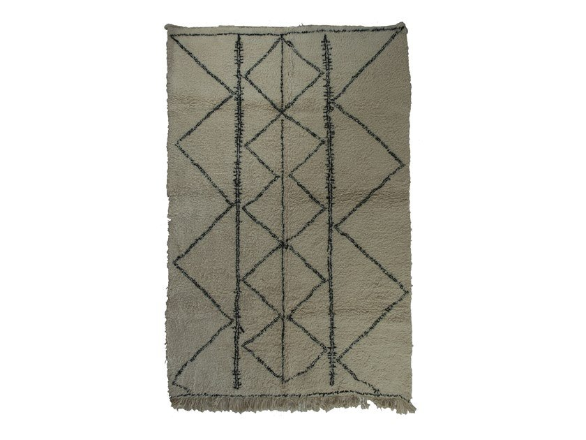 Long pile rectangular wool rug with geometric shapes BENI OURAIN TAA1112BE by AFOLKI