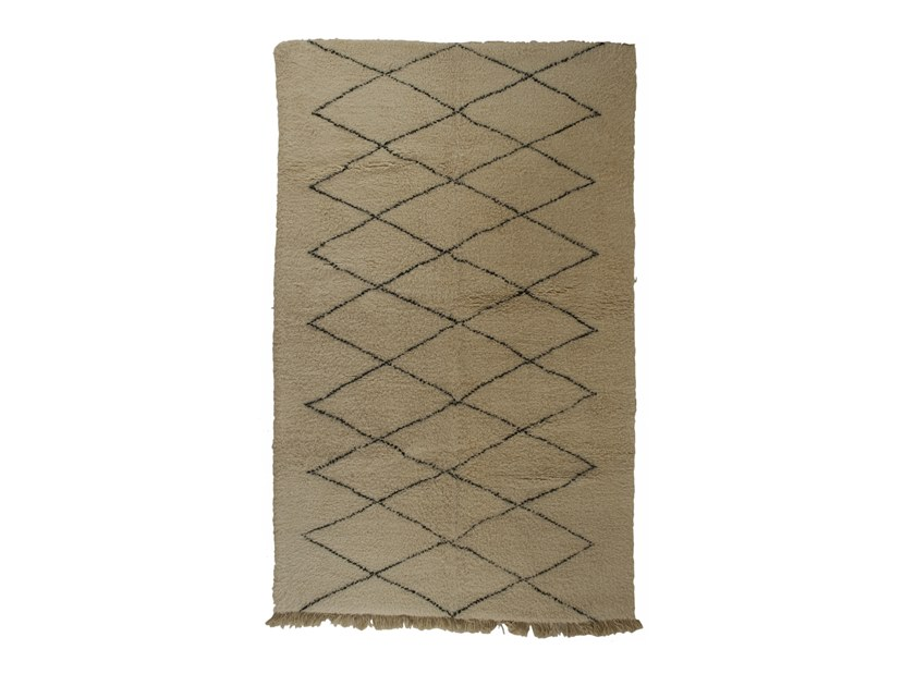 Long pile rectangular wool rug with geometric shapes BENI OURAIN TAA1115BE by AFOLKI