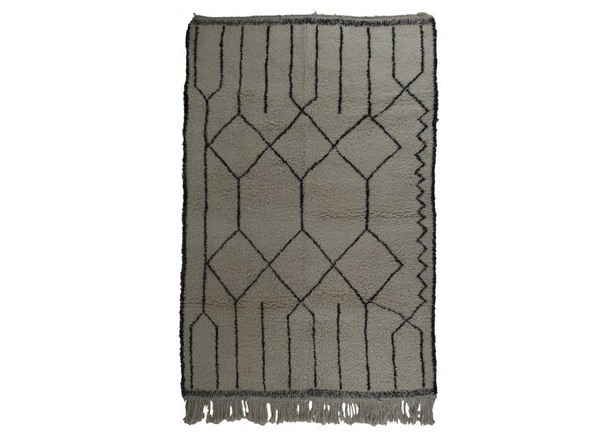 Long pile rectangular wool rug with geometric shapes BENI OURAIN TAA1117BE by AFOLKI