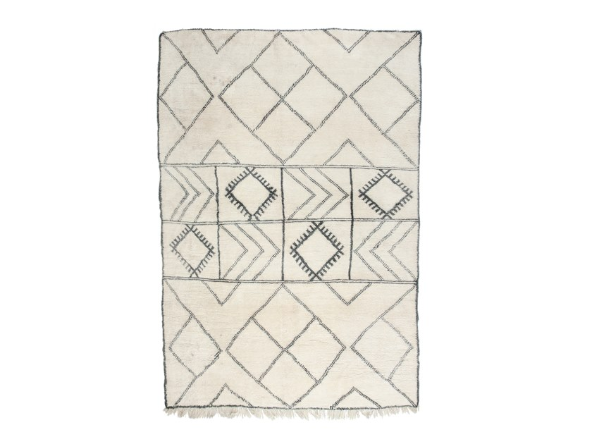 Long pile rectangular wool rug with geometric shapes BENI OURAIN TAA1120BE by AFOLKI