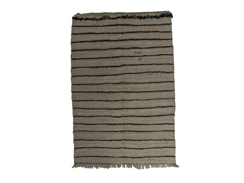 Long pile rectangular striped wool rug BENI OURAIN TAA1131BE by AFOLKI