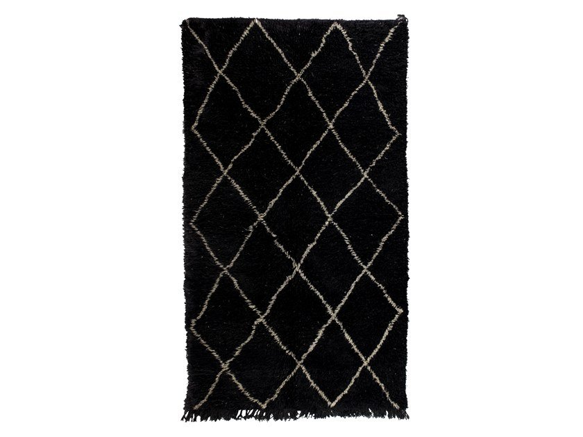 Long pile rectangular wool rug with geometric shapes BENI OURAIN TAA1136BE by AFOLKI