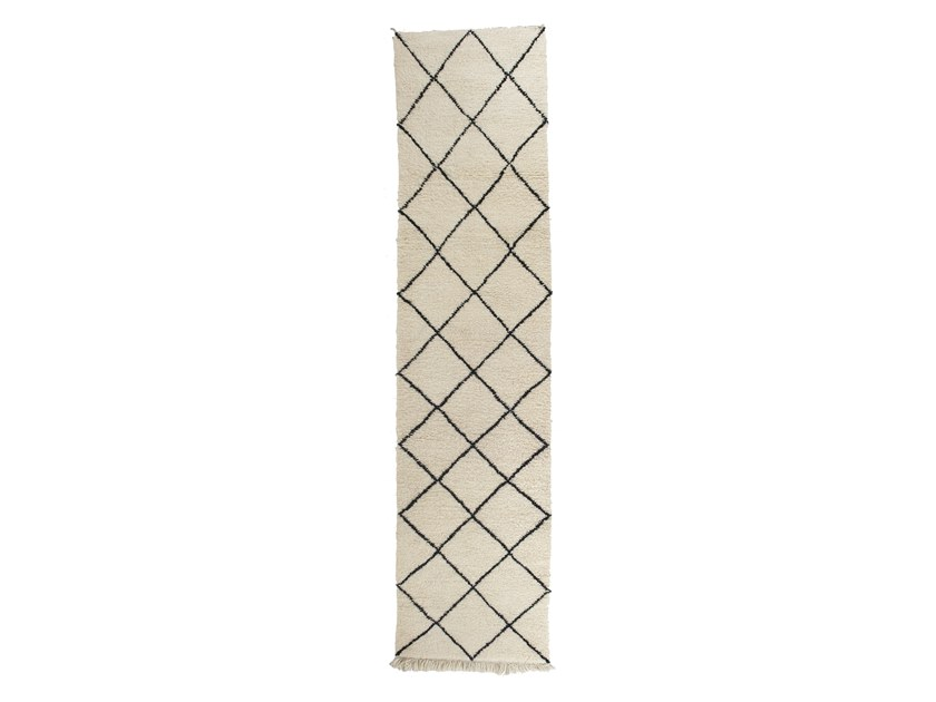 Long pile rectangular wool rug with geometric shapes BENI OURAIN TAA1137BE by AFOLKI