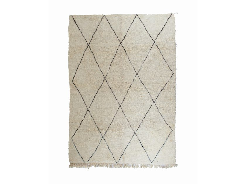 Long pile rectangular wool rug with geometric shapes BENI OURAIN TAA1140BE by AFOLKI