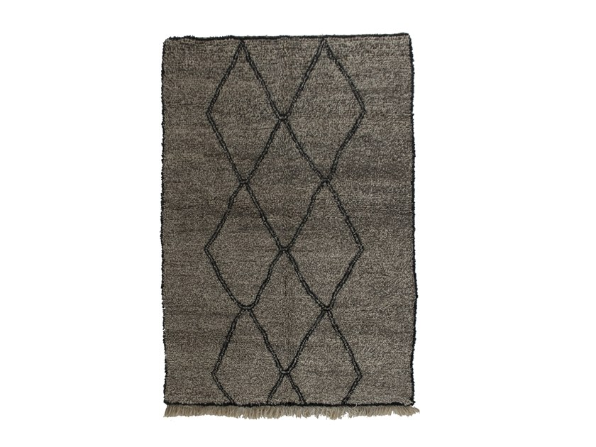 Long pile rectangular wool rug with geometric shapes BENI OURAIN TAA1141BE by AFOLKI