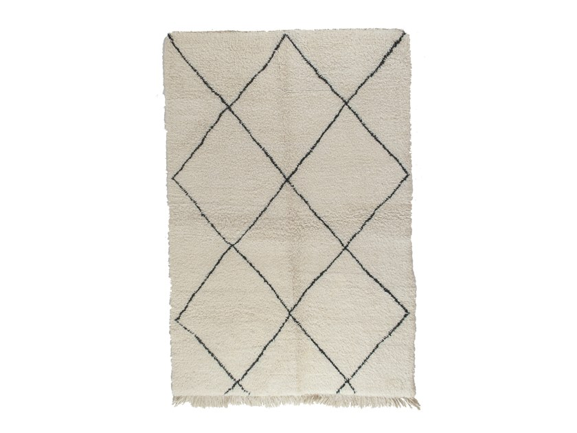 Long pile rectangular wool rug with geometric shapes BENI OURAIN TAA1145BE by AFOLKI