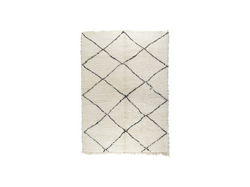 Long pile rectangular wool rug with geometric shapes BENI OURAIN TAA1146BE by AFOLKI