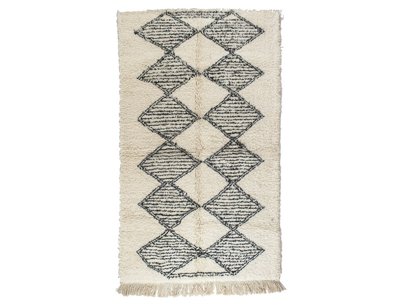 Long pile rectangular wool rug with geometric shapes BENI OURAIN TAA1148BE by AFOLKI