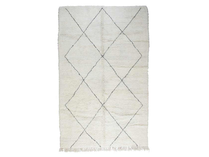 Long pile rectangular wool rug with geometric shapes BENI OURAIN TAA1152BE by AFOLKI