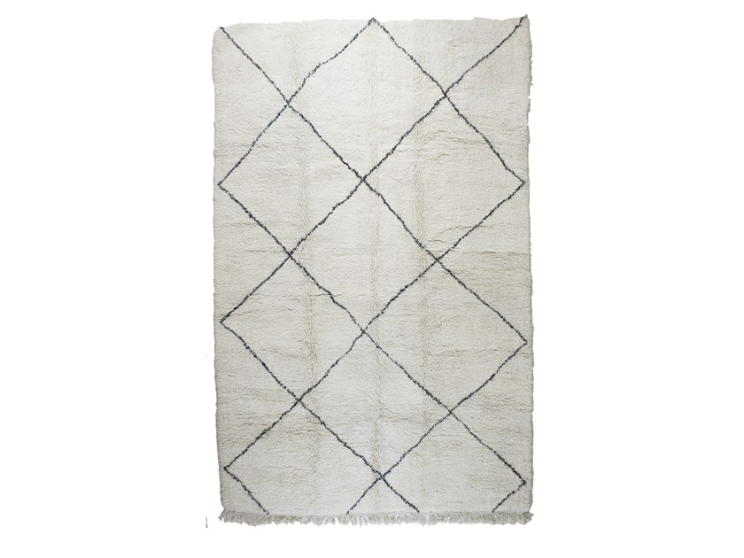 Long pile rectangular wool rug with geometric shapes BENI OURAIN TAA1153BE by AFOLKI