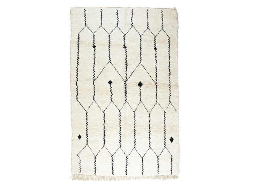Rectangular wool rug with geometric shapes BENI OURAIN TAA1156BE by AFOLKI