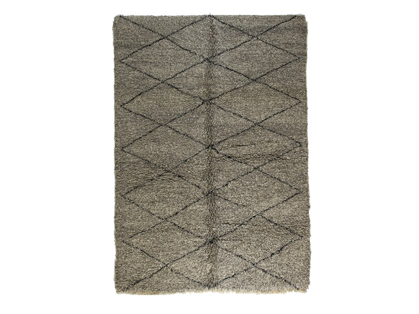 Long pile rectangular wool rug with geometric shapes BENI OURAIN TAA1157BE by AFOLKI