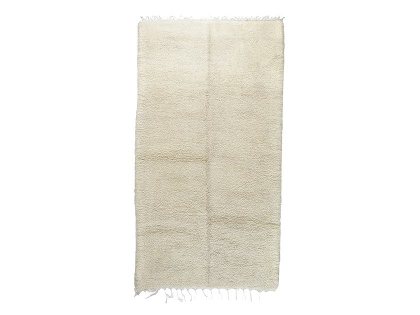 Long pile solid-color rectangular wool rug BENI OURAIN TAA1160BE by AFOLKI