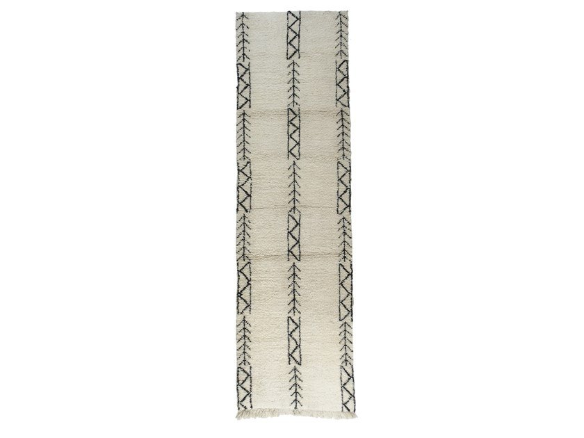 Patterned long pile rectangular wool rug BENI OURAIN TAA1164BE by AFOLKI