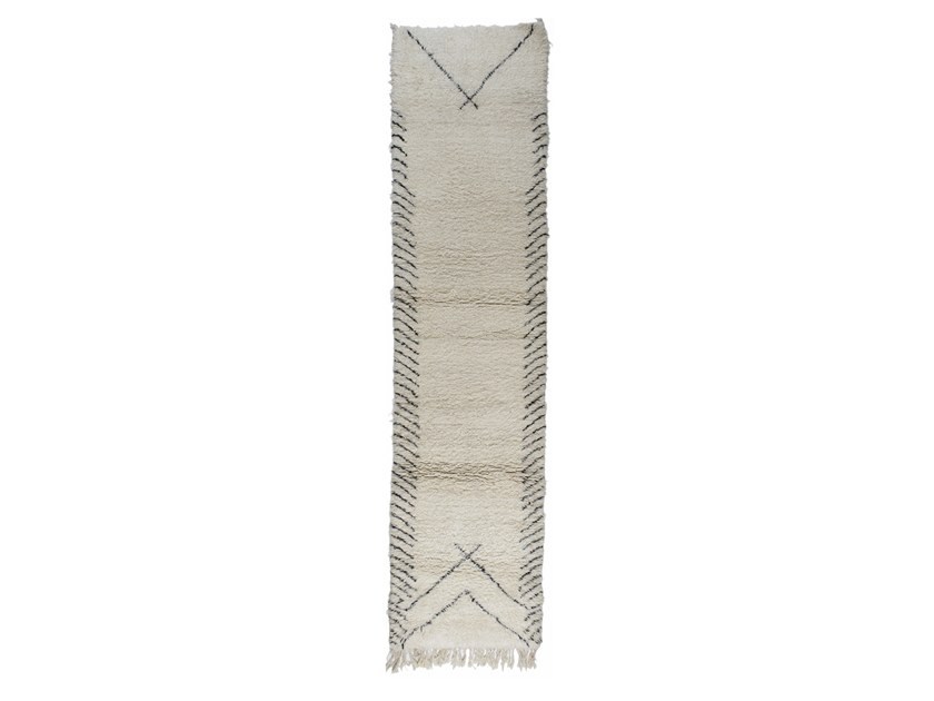 Long pile rectangular wool rug BENI OURAIN TAA1165BE by AFOLKI