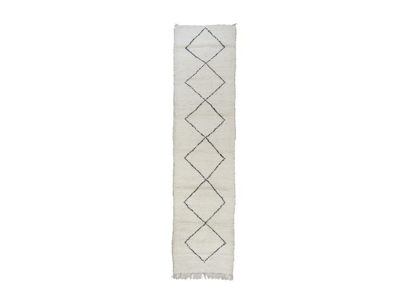 Long pile rectangular wool rug with geometric shapes BENI OURAIN TAA1170BE by AFOLKI