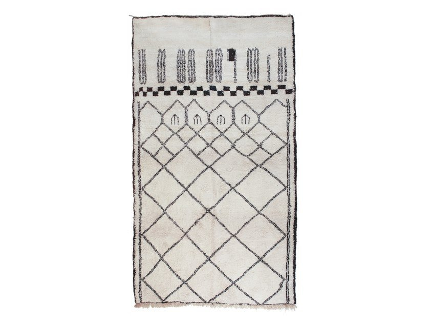 Long pile rectangular wool rug with geometric shapes BENI OURAIN TAA1194BE by AFOLKI