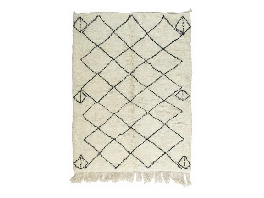 Long pile rectangular wool rug with geometric shapes BENI OURAIN TAA1196BE by AFOLKI