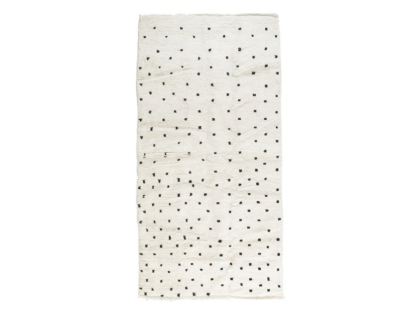 Patterned long pile rectangular wool rug BENI OURAIN TAA1197BE by AFOLKI