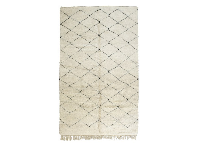 Long pile rectangular wool rug with geometric shapes BENI OURAIN TAA1204BE by AFOLKI
