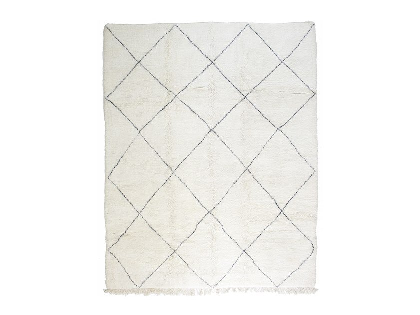 Long pile rectangular wool rug with geometric shapes BENI OURAIN TAA1207BE by AFOLKI