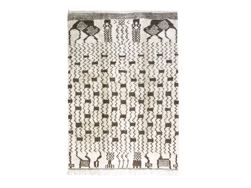 Patterned long pile rectangular wool rug BENI OURAIN TAA1209BE by AFOLKI