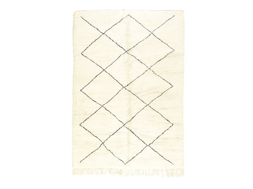 Long pile rectangular wool rug with geometric shapes BENI OURAIN TAA1212BE by AFOLKI