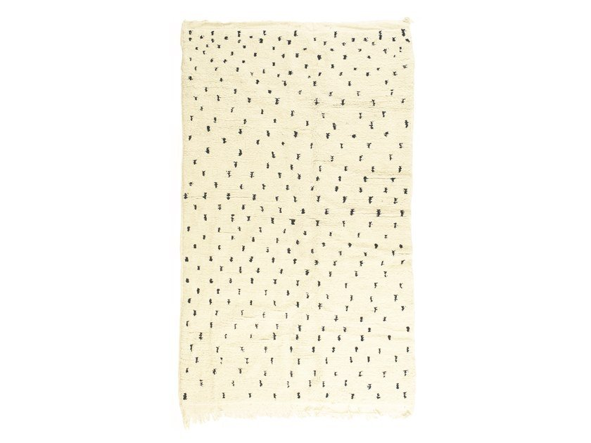 Patterned long pile rectangular wool rug BENI OURAIN TAA1214BE by AFOLKI