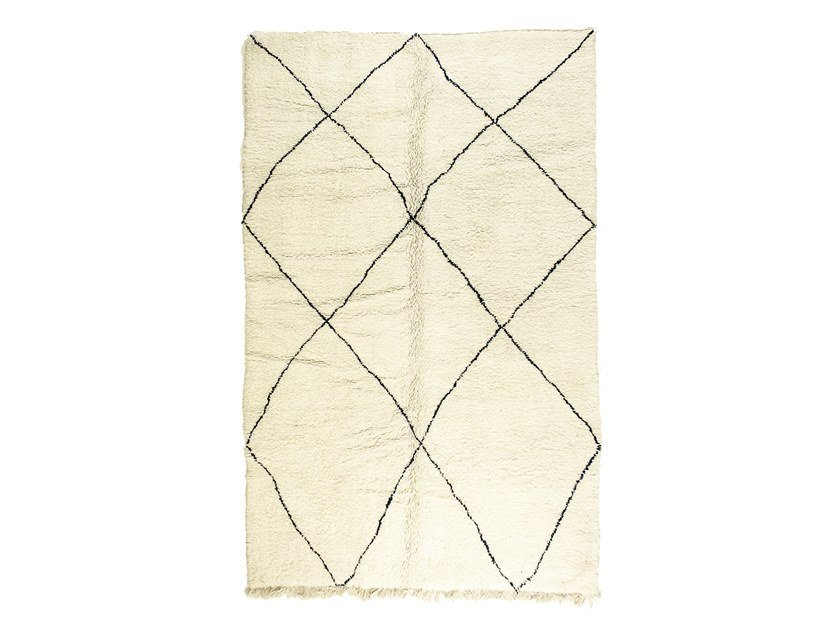 Long pile rectangular wool rug with geometric shapes BENI OURAIN TAA1216BE by AFOLKI