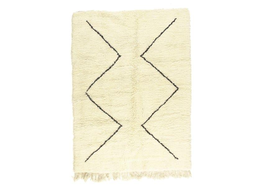 Long pile rectangular wool rug BENI OURAIN TAA1218BE by AFOLKI