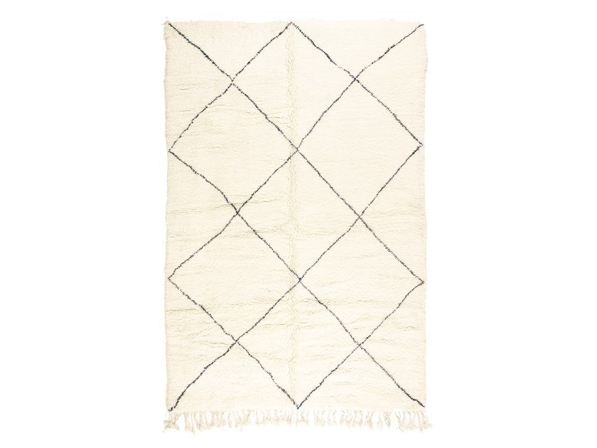 Long pile rectangular wool rug with geometric shapes BENI OURAIN TAA1221BE by AFOLKI