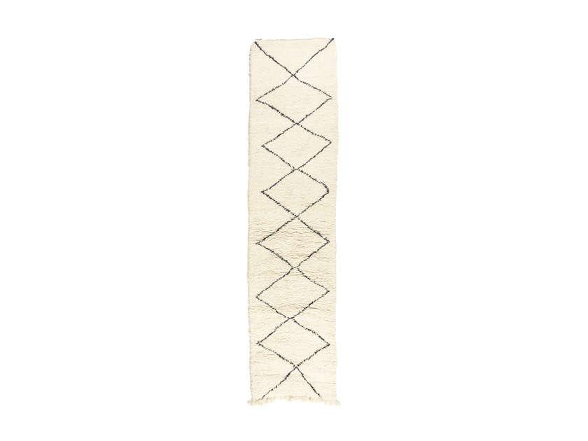 Long pile rectangular wool rug with geometric shapes BENI OURAIN TAA1223BE by AFOLKI