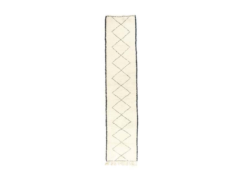 Long pile rectangular wool rug with geometric shapes BENI OURAIN TAA1224BE by AFOLKI