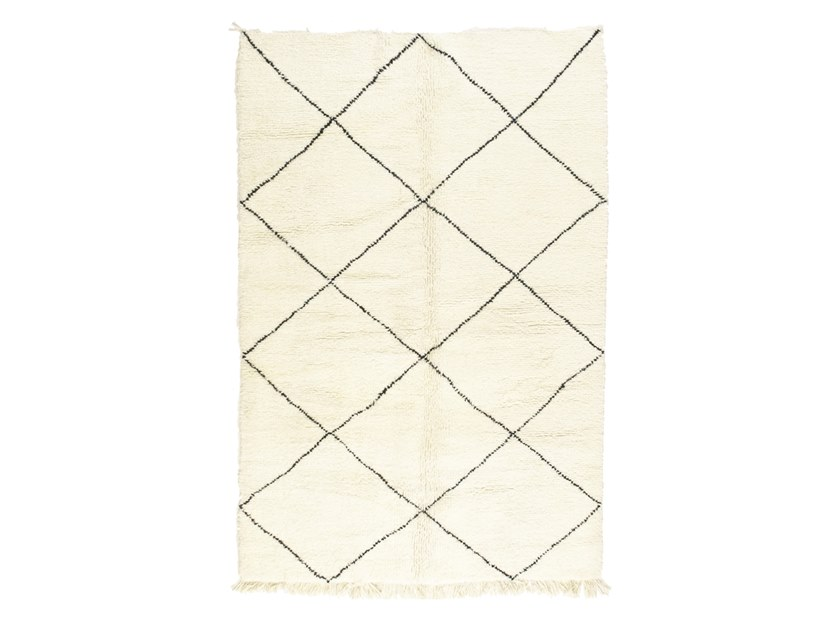 Long pile rectangular wool rug with geometric shapes BENI OURAIN TAA1225BE by AFOLKI