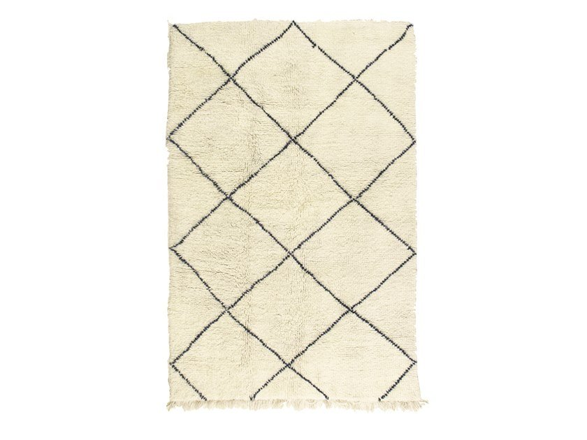 Long pile rectangular wool rug with geometric shapes BENI OURAIN TAA1226BE by AFOLKI