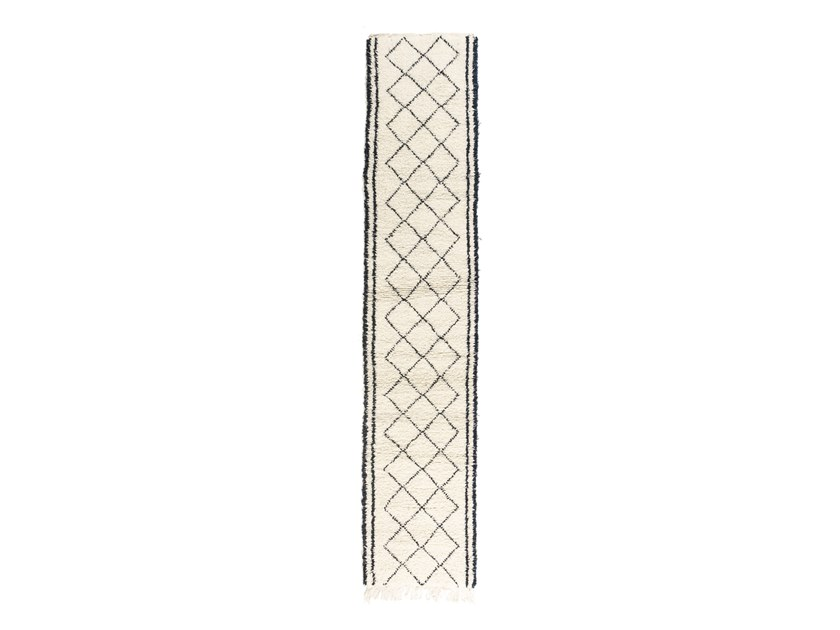 Long pile rectangular wool rug with geometric shapes BENI OURAIN TAA1227BE by AFOLKI