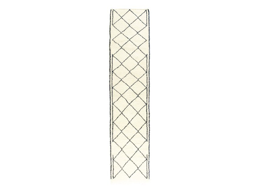 Long pile rectangular wool rug with geometric shapes BENI OURAIN TAA1228BE by AFOLKI