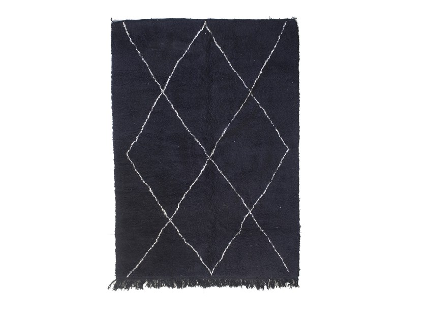 Long pile rectangular wool rug with geometric shapes BENI OURAIN TAA1245BE by AFOLKI